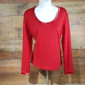 J Jill Velvet Trim Tee T-Shirt Women's Red Long Sl